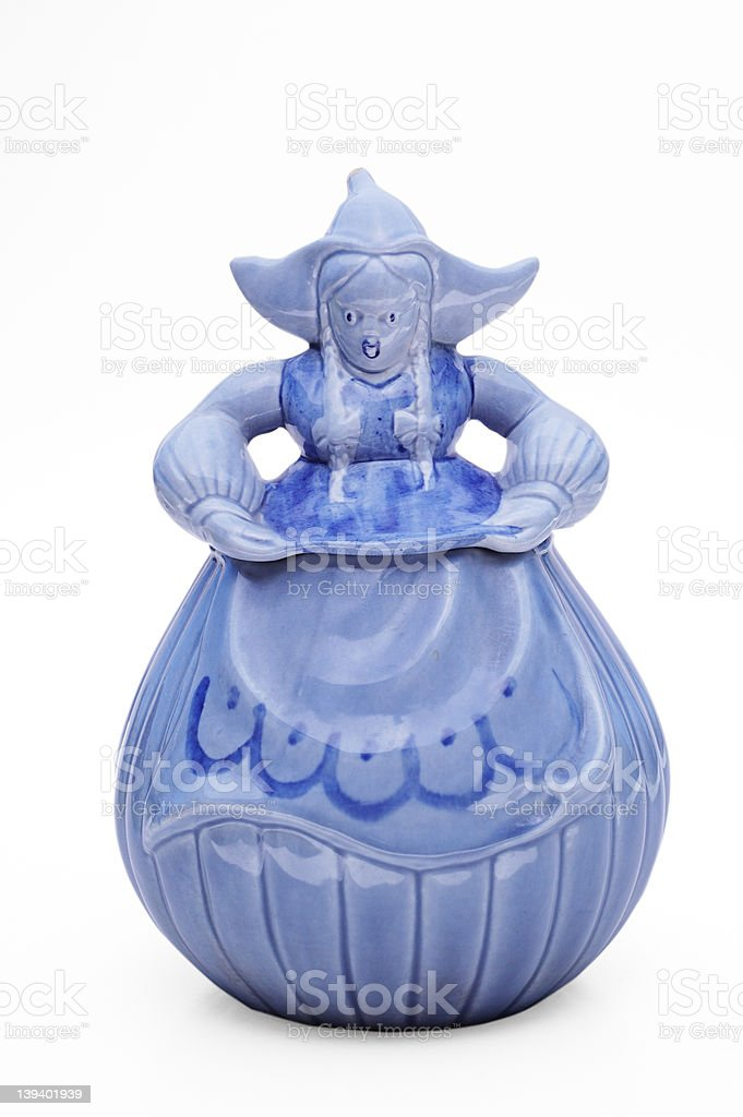 Retro blue cookie jar stock photo