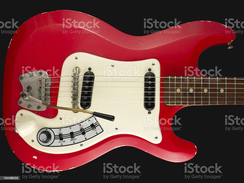 Retro British red electric guitar body stock photo