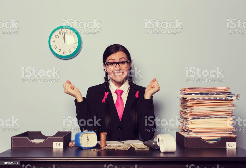 Retro Businesswoman is Happy at Work stock photo
