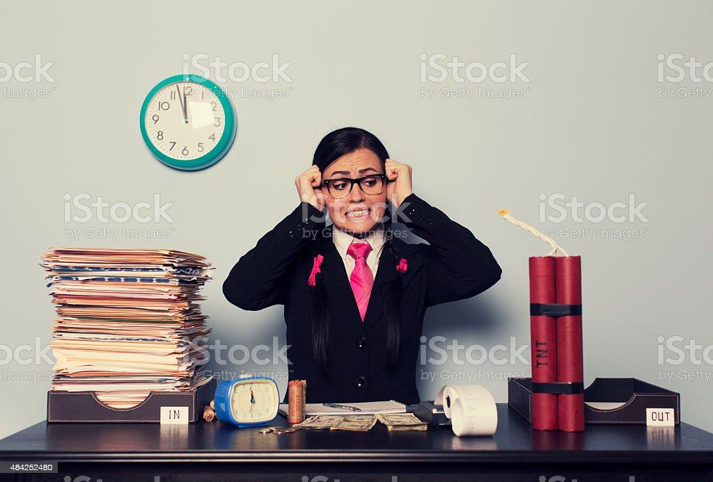 Retro Businesswoman is Past Deadline stock photo