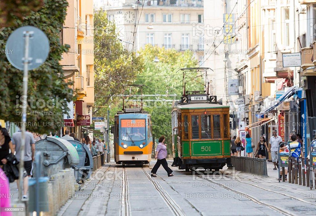 Retro cable tram car stock photo
