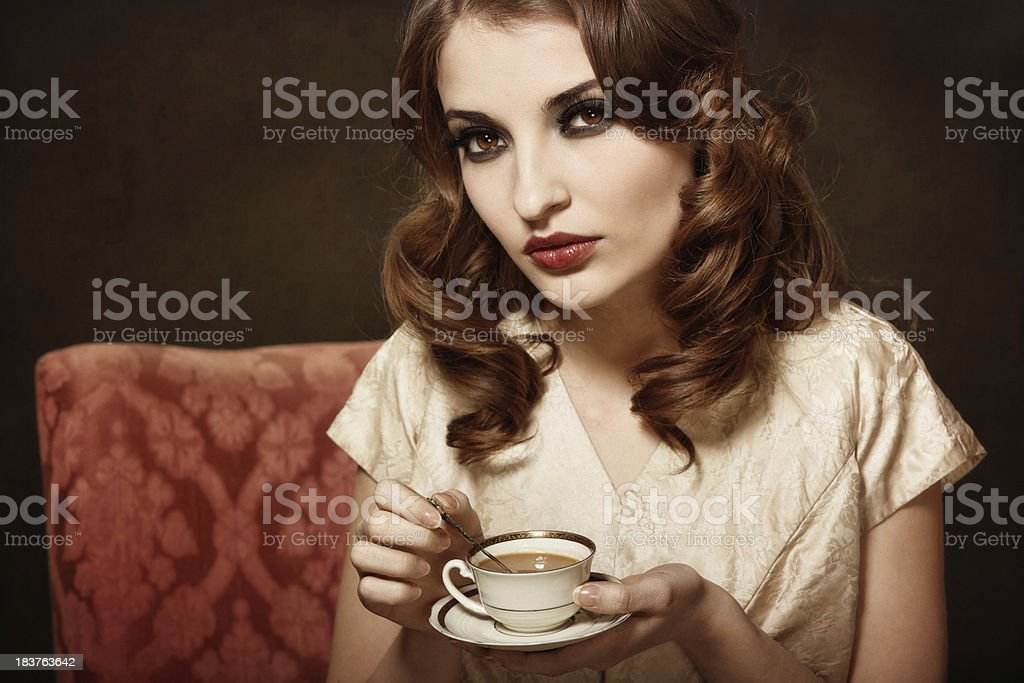 Retro cafe girl royalty-free stock photo