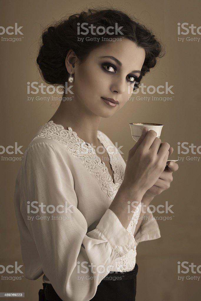 Retro cafe girl royalty-free stock photo
