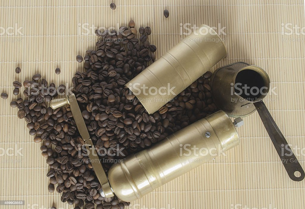 Retro cafe grinder stock photo