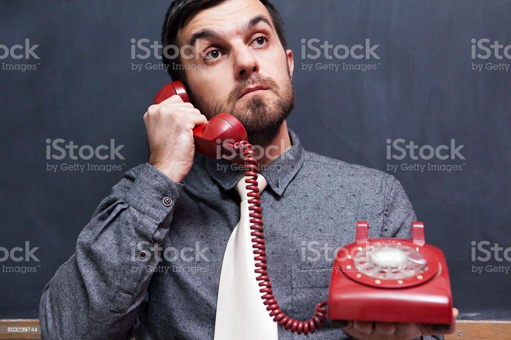 Retro Call Center stock photo
