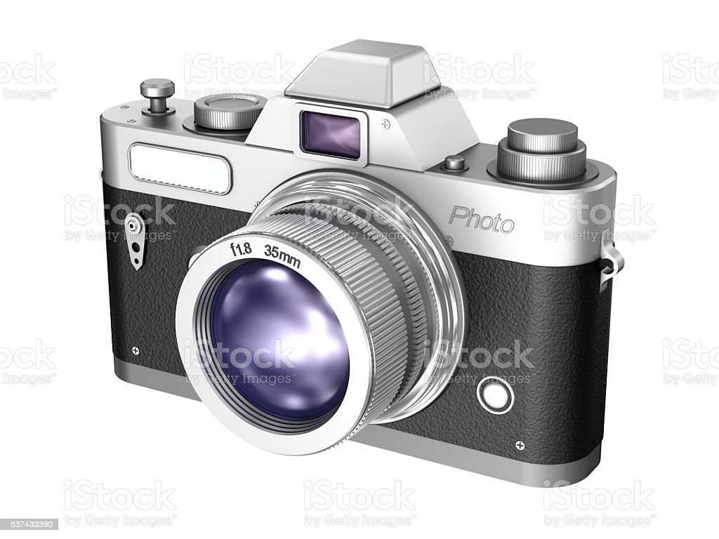 Retro camera isolated on white background stock photo
