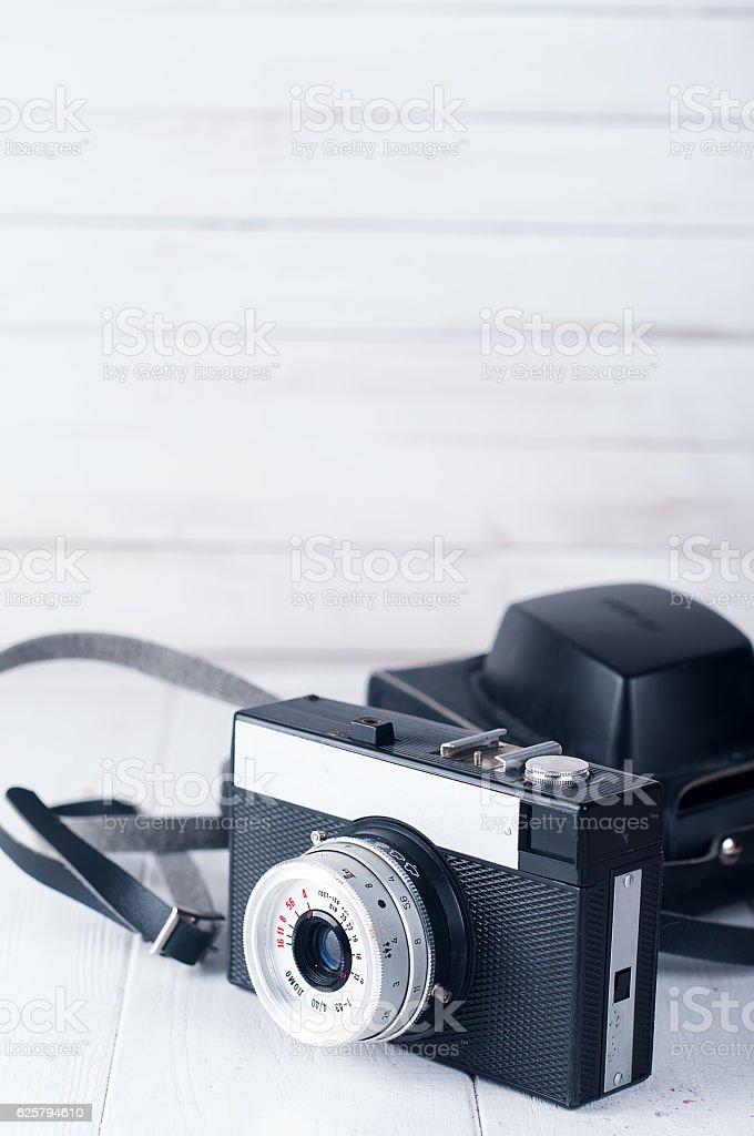 Retro camera isolated stock photo