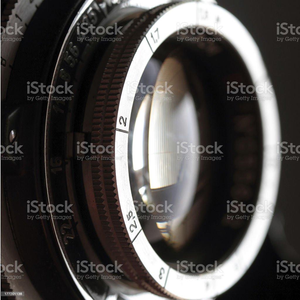 Retro camera lens close-up. royalty-free stock photo