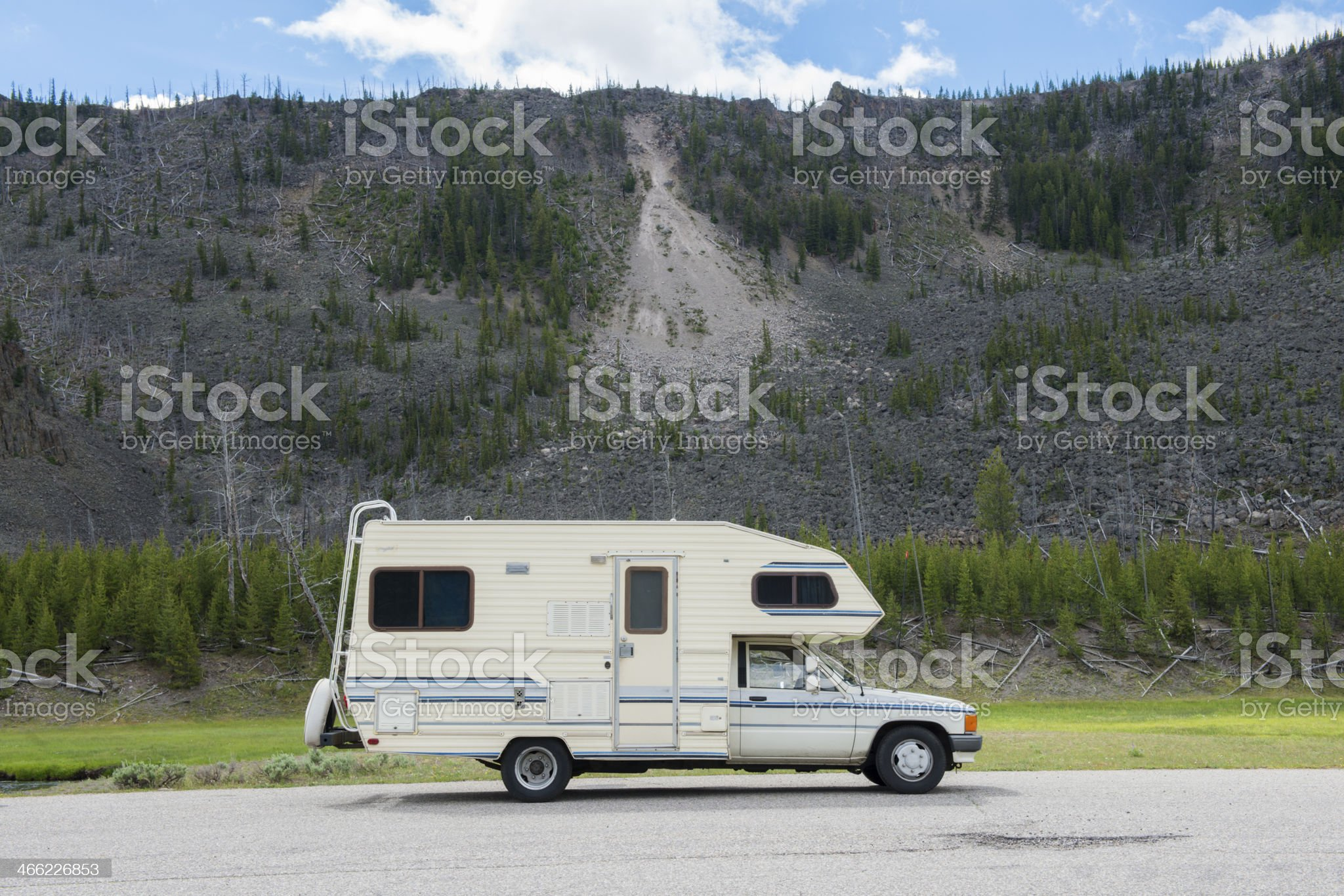 Retro Camper Truck in Yellowstone National Park royalty-free stock photo