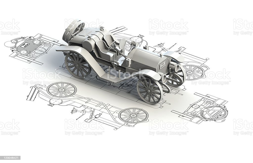 Retro car charts with 3d model on top royalty-free stock photo
