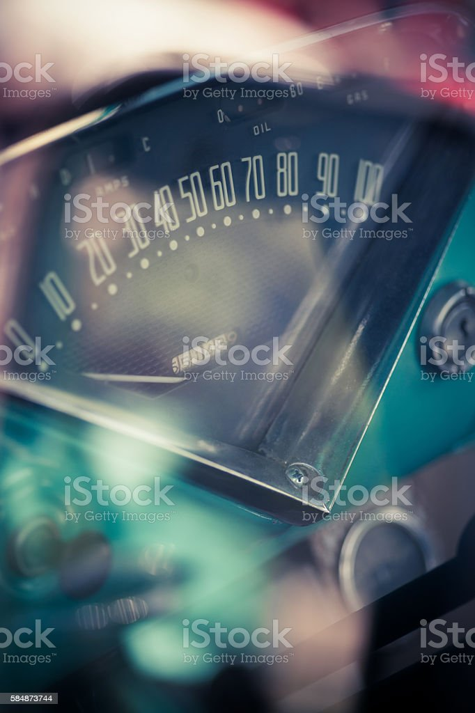 Retro car dashboard stock photo