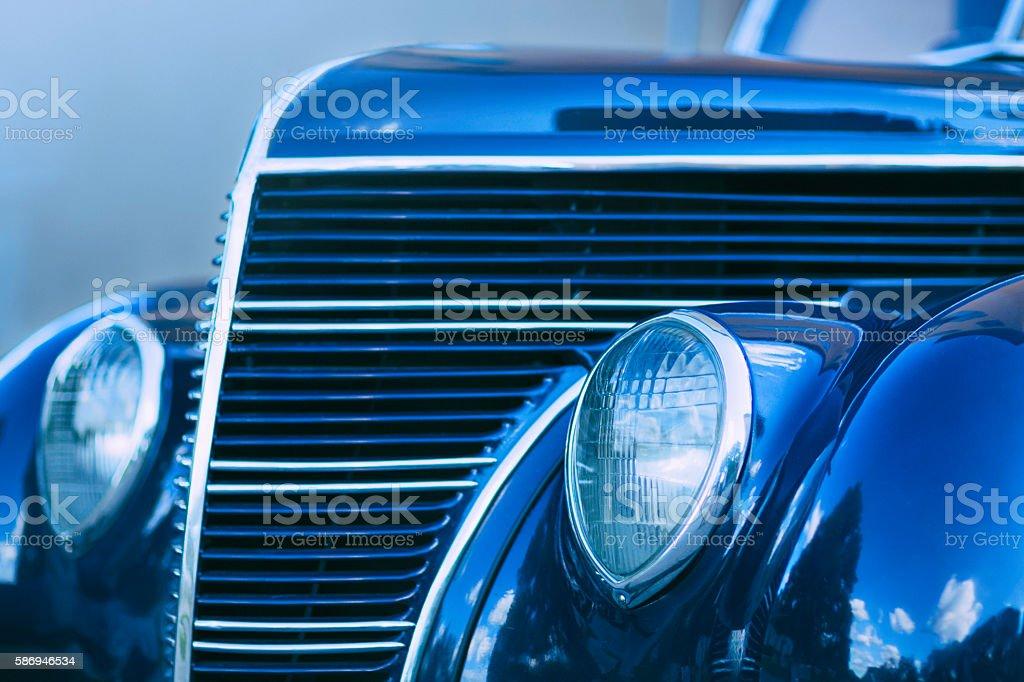 Retro car in blue stock photo