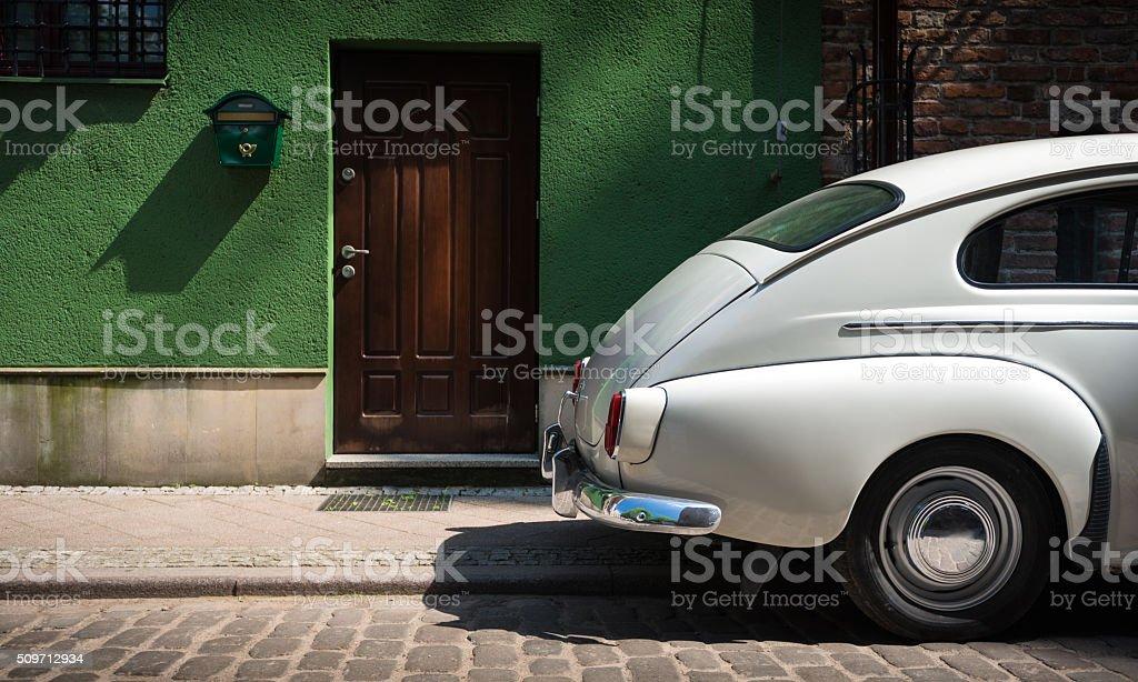 Retro car in street of Gdansk, Poland, Europe. stock photo