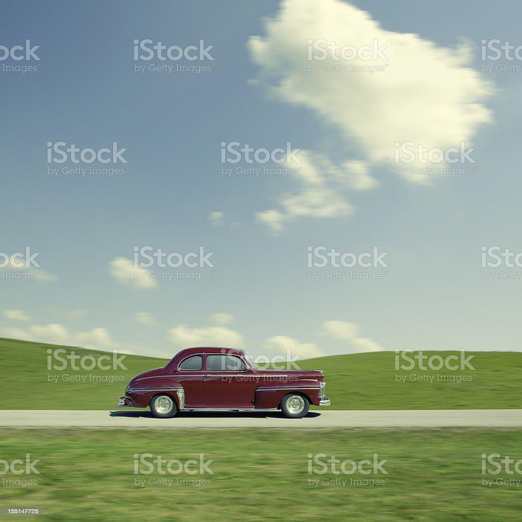 Retro car ride stock photo