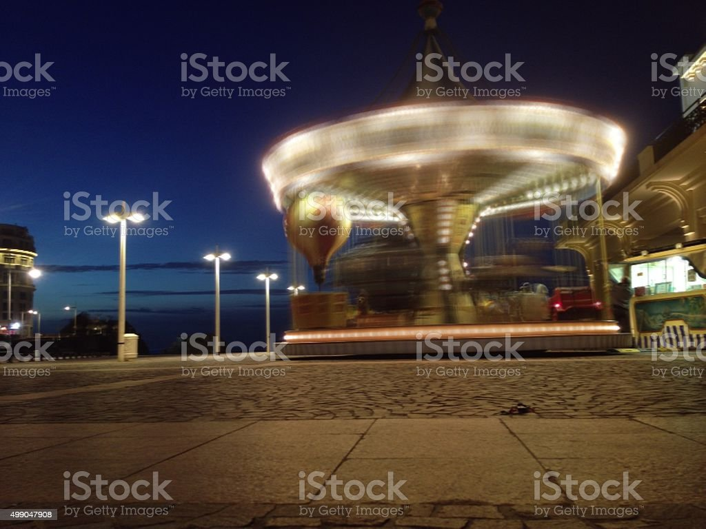 Retro Carousel in Biarritz, France stock photo