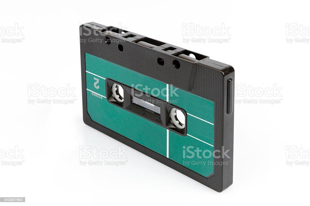 Retro cassette tape with green label stock photo