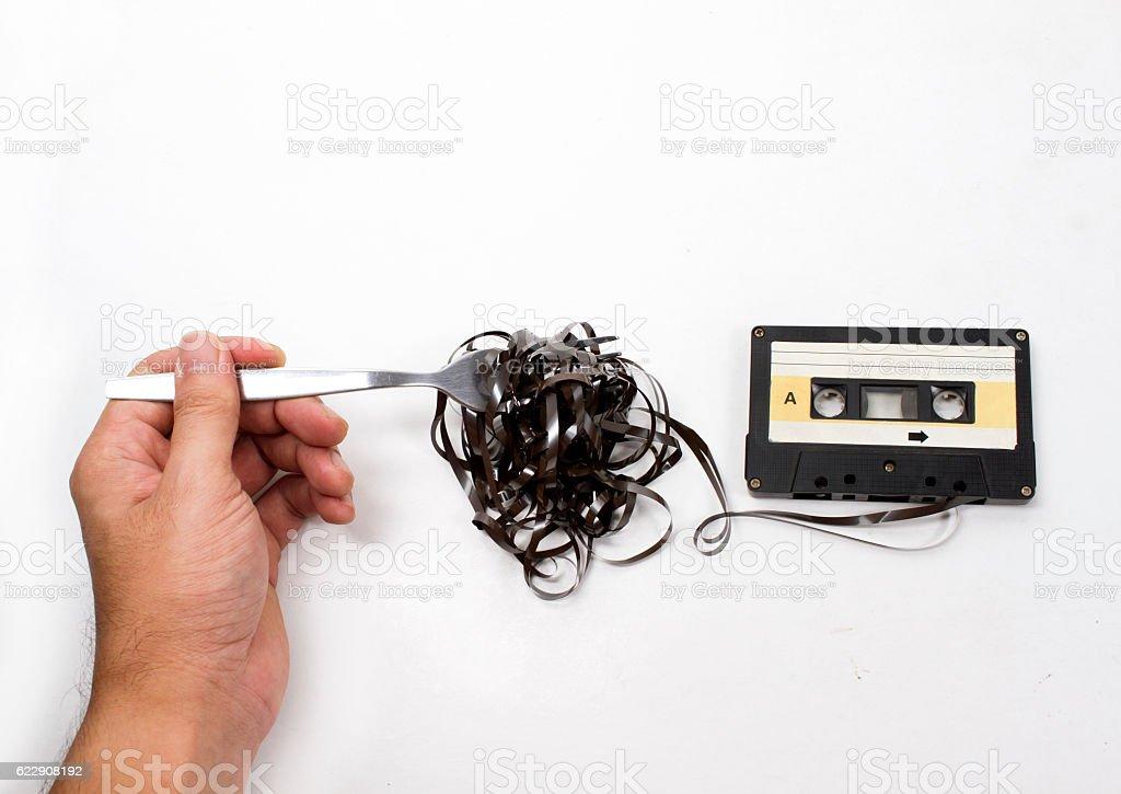 retro cassette tapes stock photo