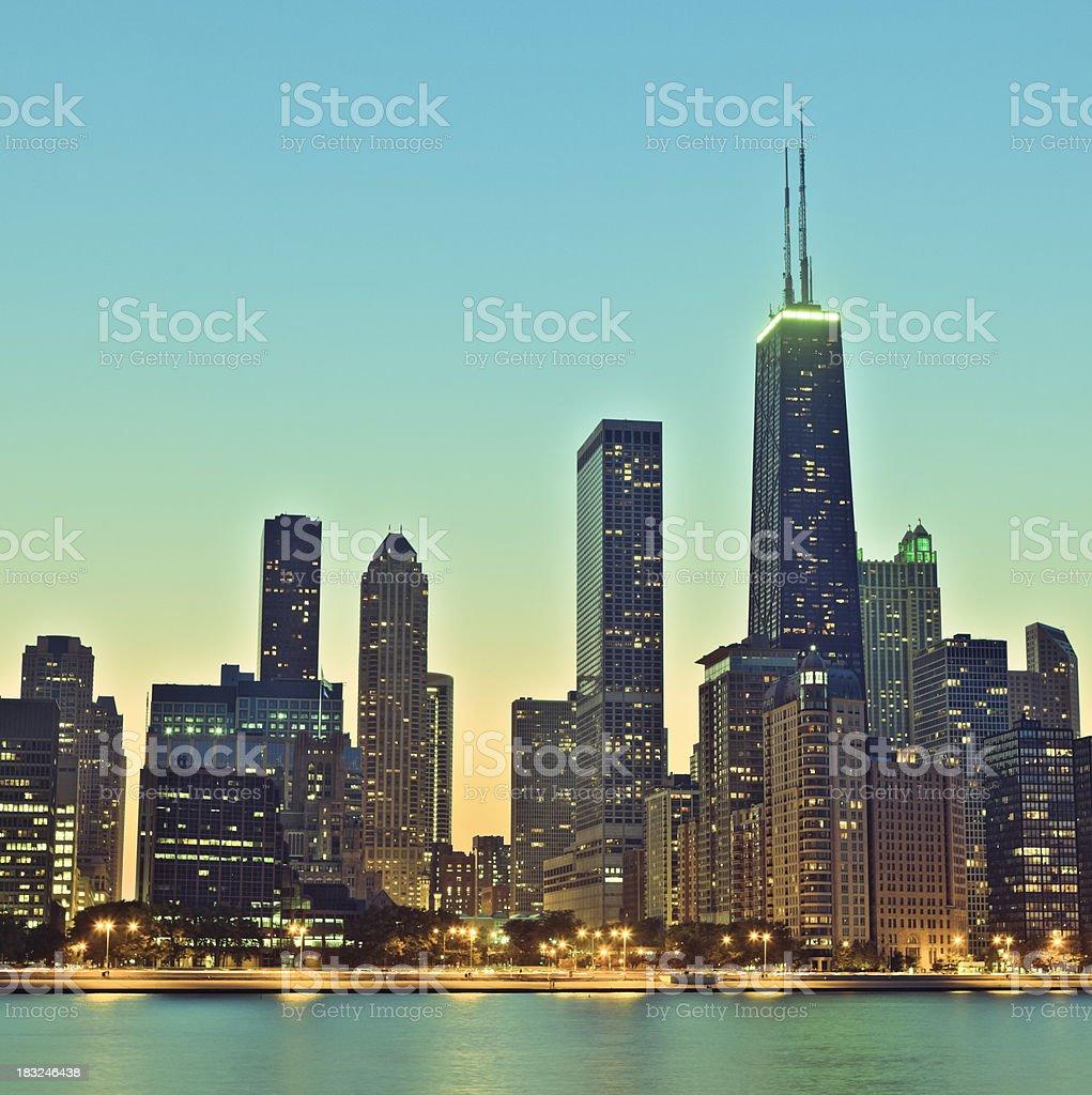 Retro Chicago skyline at night stock photo