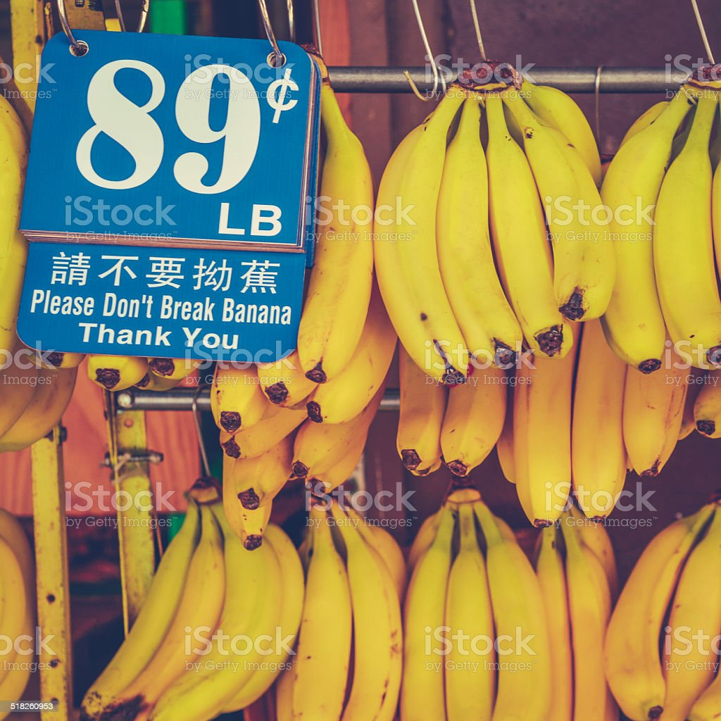 Retro Chinatown Market Bananas stock photo