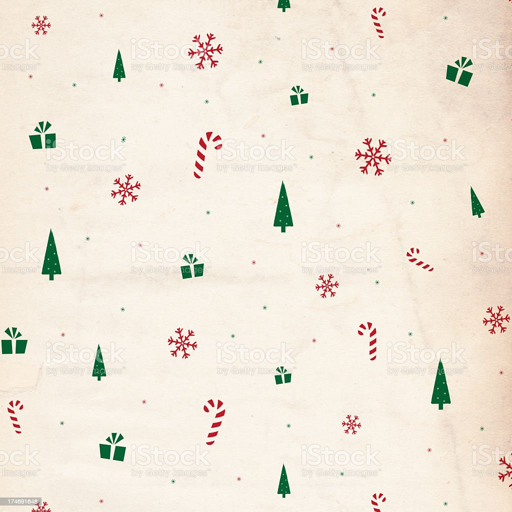 Retro Christmas background decorated in tiny Christmas icons royalty-free stock photo