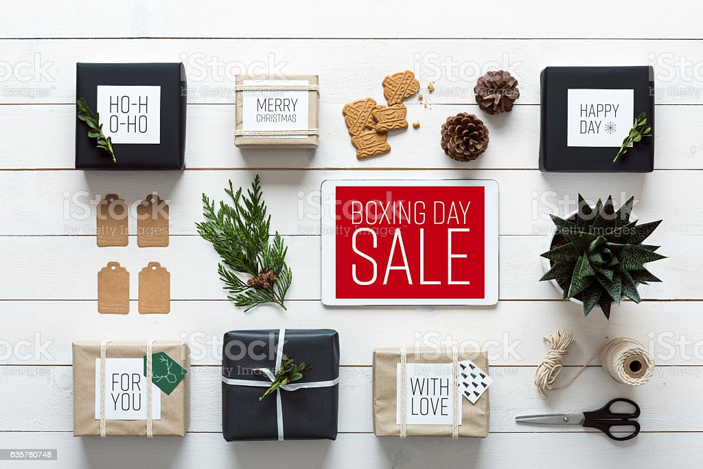 Retro christmas, desk view from above, online shopping concept stock photo