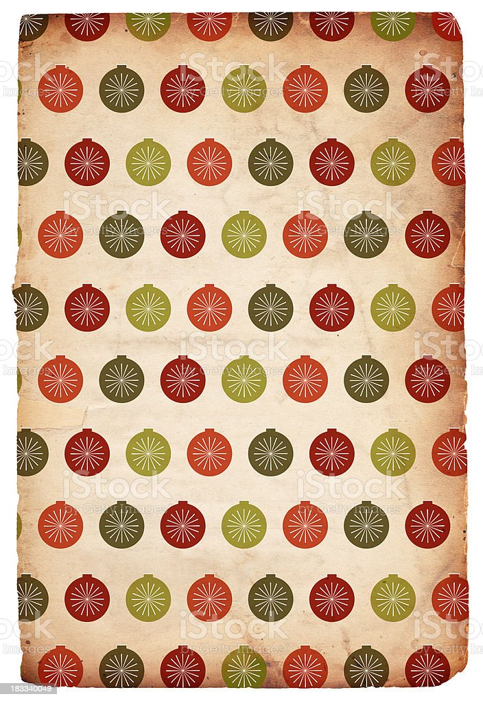 Retro Christmas Paper: Baubles - XXXL royalty-free stock photo