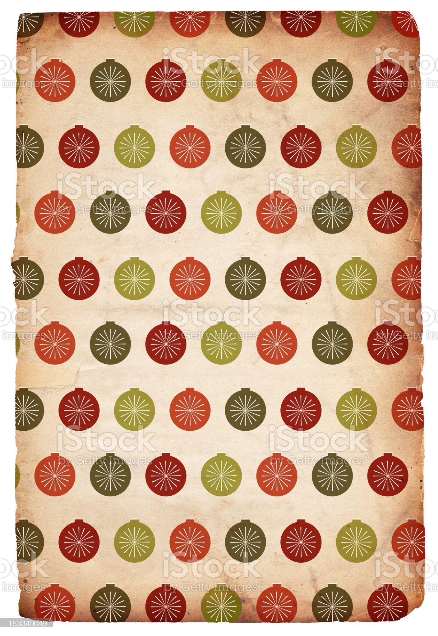 Retro Christmas Paper: Baubles - XXXL royalty-free stock photo