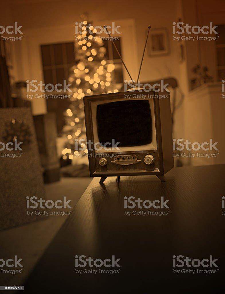 Retro Christmas Parlor Scene, Tree and Television Set