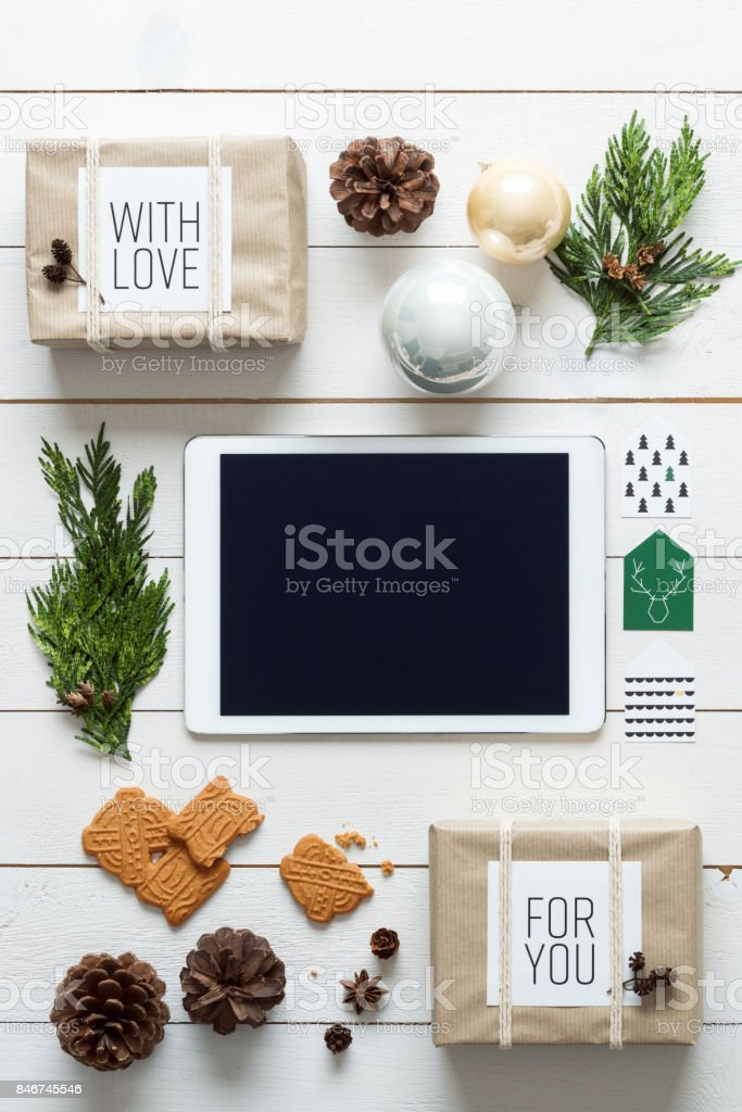 Retro christmas, wrapping station, from above, online shopping concept stock photo