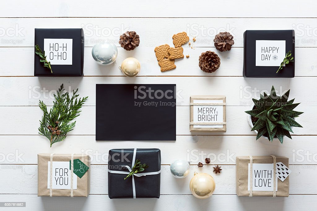 Retro christmas wrapping station, top view, letter to santa concept stock photo