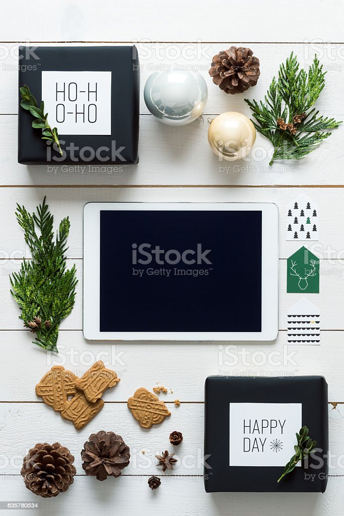 Retro christmas, wrapping station, view from above, online shopping concept stock photo