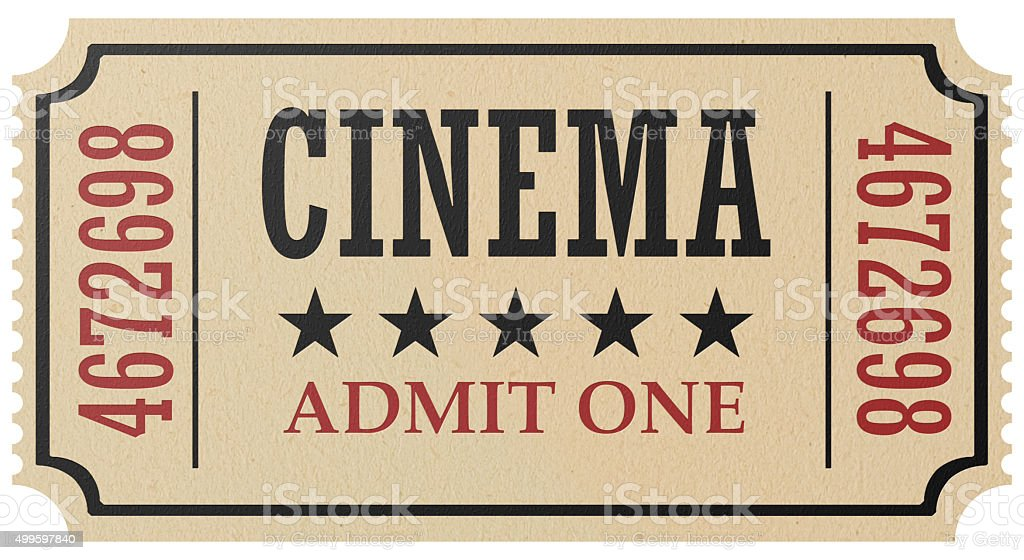 Retro cinema ticket isolated stock photo