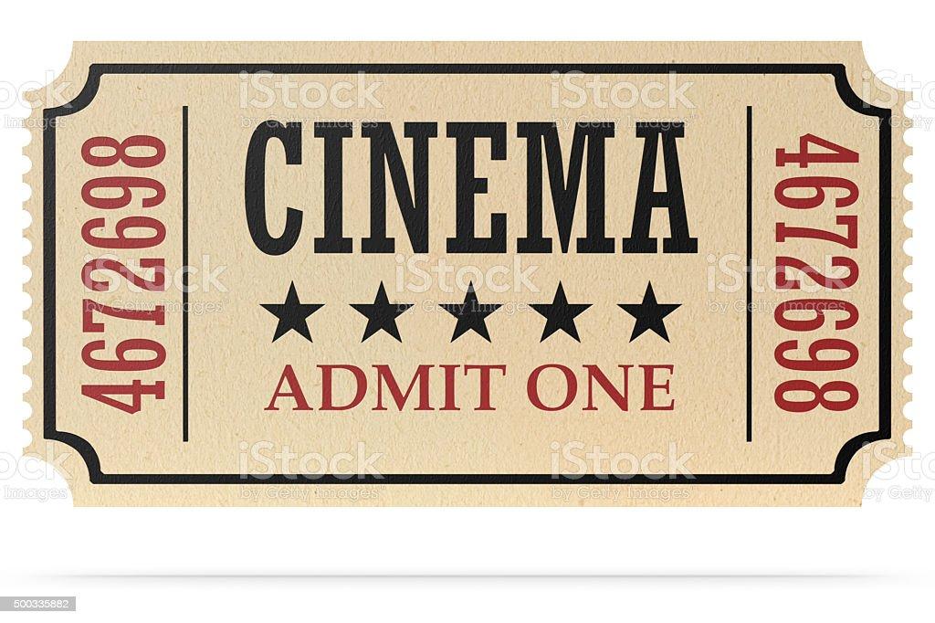 retro cinema ticket isolated with shadow stock photo