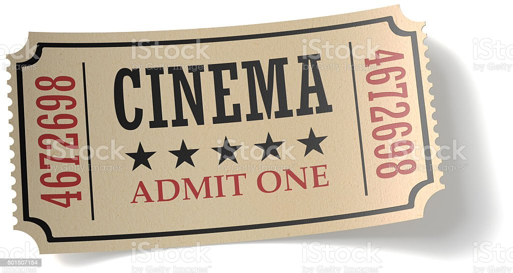Retro cinema ticket with shadow stock photo