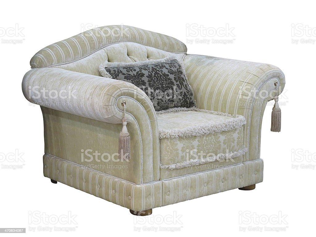 Clássico Retro vintage Cadeira de luxo isolado sobre branco foto de stock royalty-free