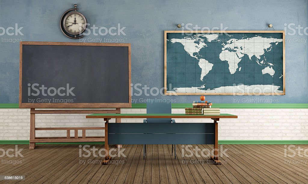 Retro classroom without student stock photo