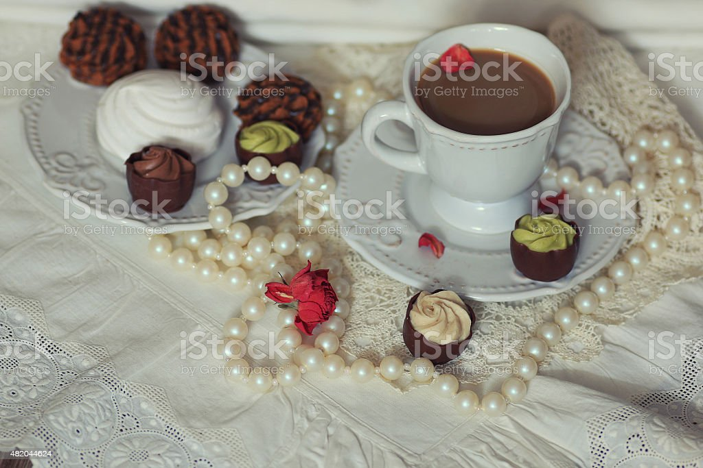 retro coffee Lunch candy stock photo