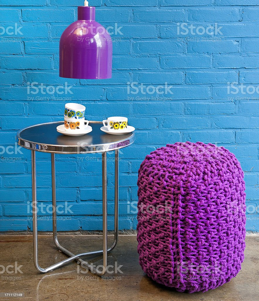 Retro Coffee Table Cups Saucers Lamp And Stool Stock Photo 171112149    IStock