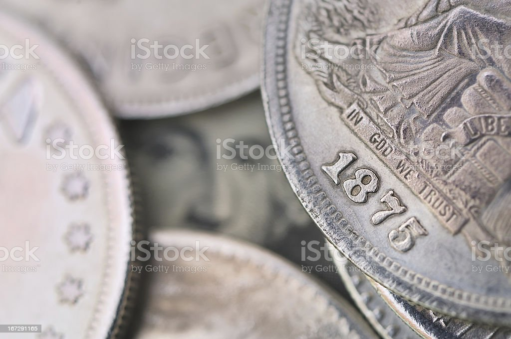 retro coin of united state stock photo