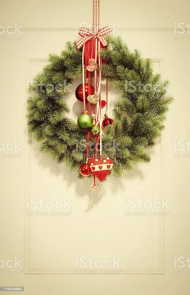 Retro colored christmas wreath royalty-free stock photo