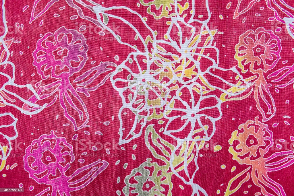 retro colorful pink fabric flower pattern stock photo