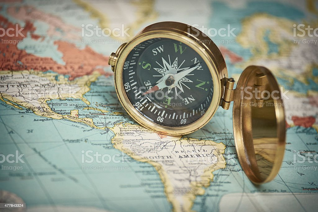 Retro Compass And Vintage Map stock photo