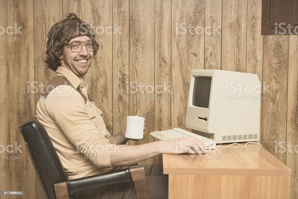 Retro Computer office nerd at home office stock photo