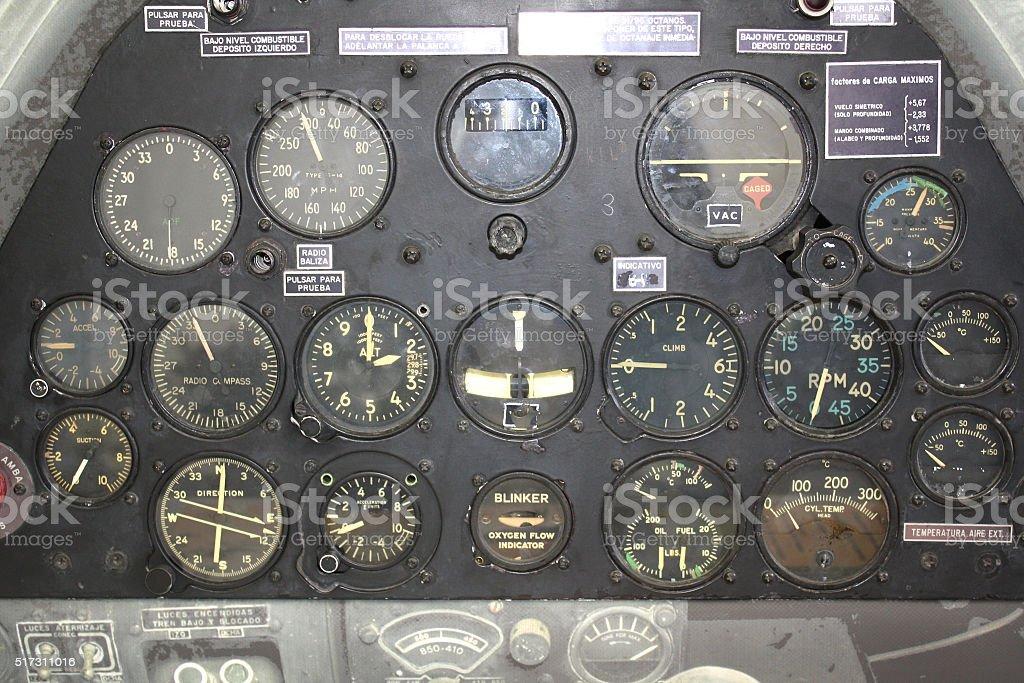 Retro control panel in a war plane cockpit stock photo