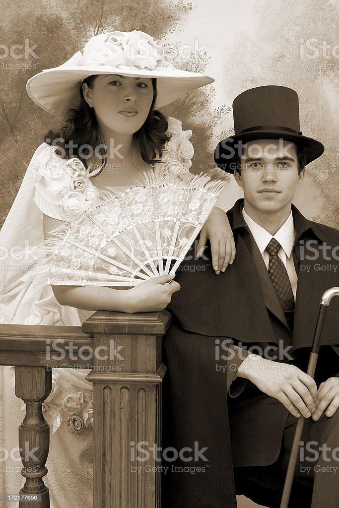 Retro couple portrait (sepia) royalty-free stock photo