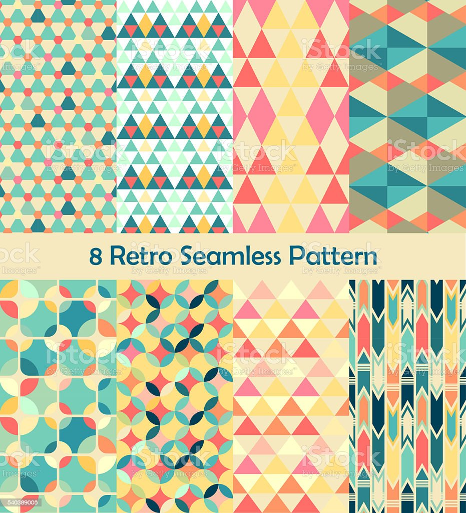 8 Retro different vector seamless patterns set stock photo