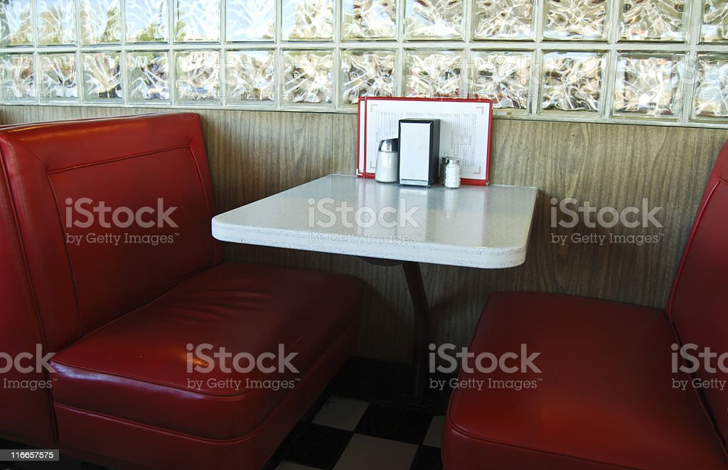 Retro Diner Booth - Formica and Red Leatherette stock photo