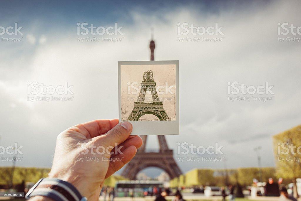 Retro Eiffel tower stock photo
