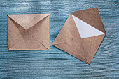 Retro envelopes letter on wooden board top view