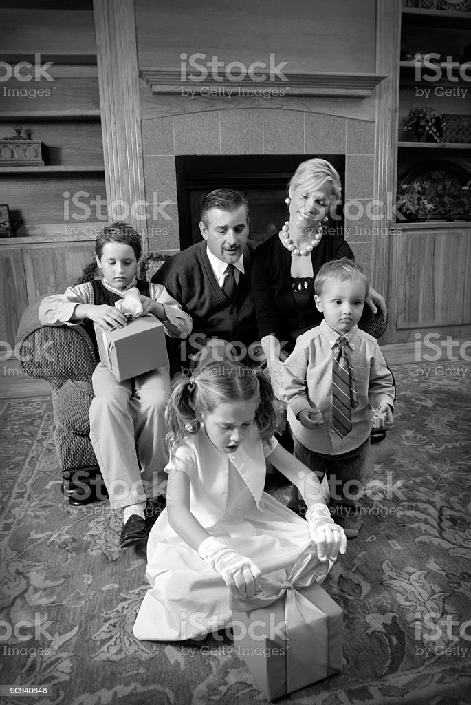 retro family christmas stock photo